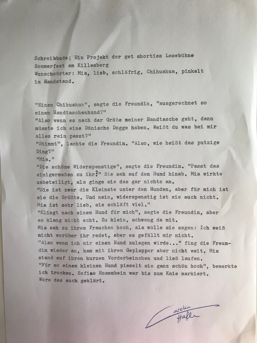 Carolin Hafen- Schreibbude Mia